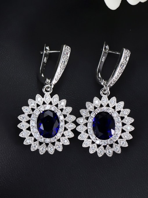 Royal Blue Brass Cubic Zirconia Flower Luxury Huggie Earring