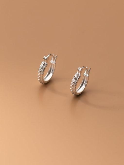 Rosh 925 Sterling Silver Rhinestone Geometric Minimalist Huggie Earring 2