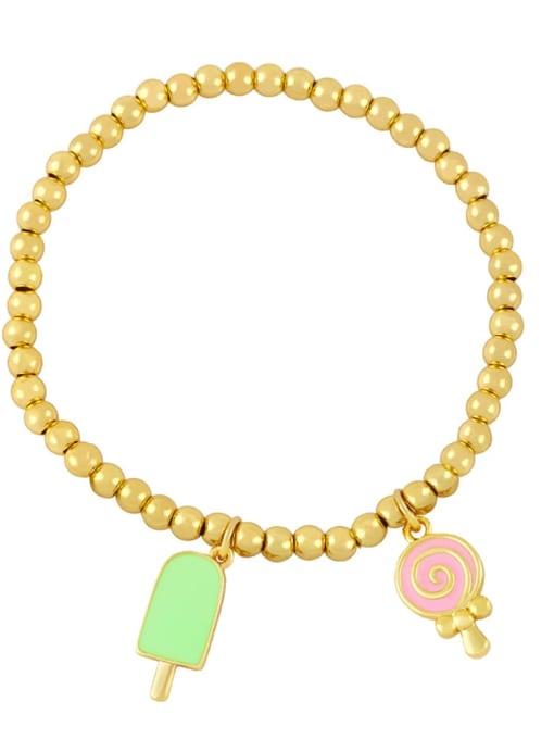Green pink Brass Enamel Heart Vintage Beaded Bracelet