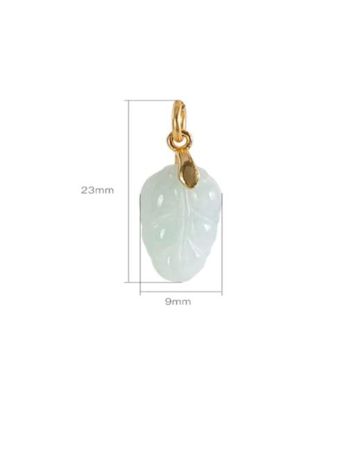 DEER 925 Sterling Silver Jade Leaf  Minimalist Pendant 3