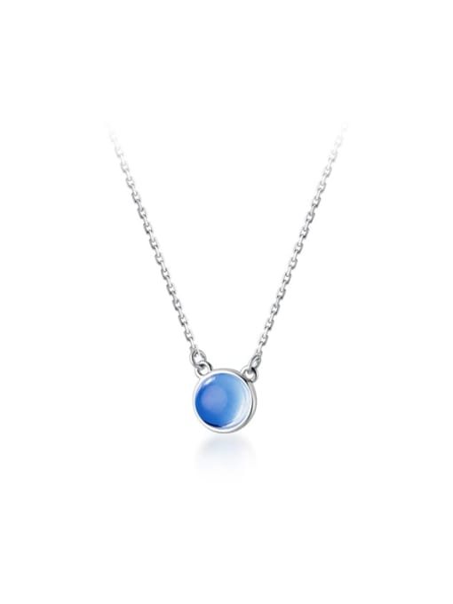 Rosh 925 Sterling Silver Glass Stone Round Minimalist Necklace 3