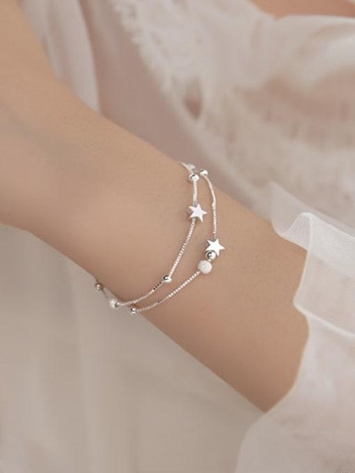 Rosh 925 Sterling Silver Bead Star Minimalist Strand Bracelet 1