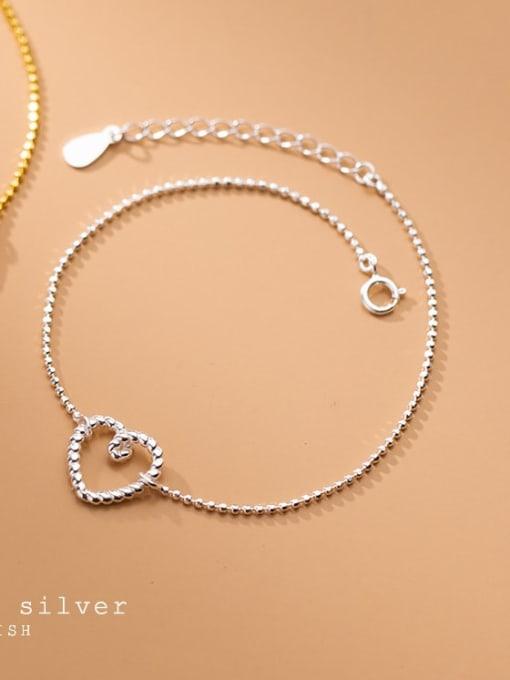Rosh 925 Sterling Silver Hollow Heart Minimalist Beaded Bracelet 2
