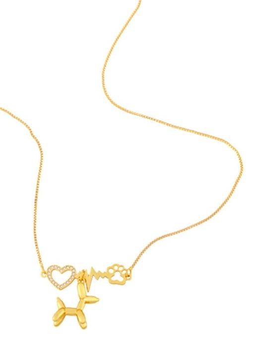 CC Brass Cubic Zirconia Heart Cute Necklace 3