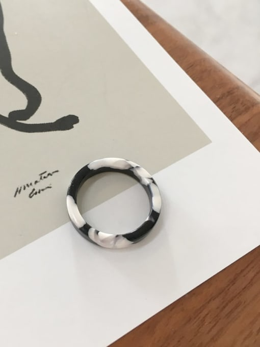 Black And White Cellulose Acetate Geometric Minimalist  men and women Melange ring