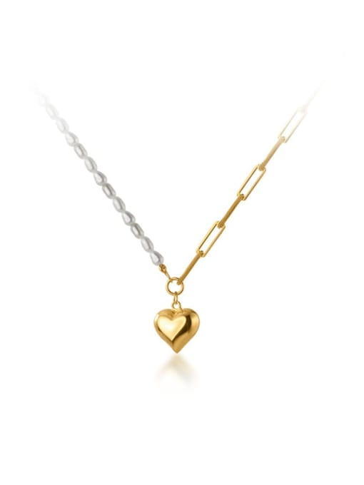 Rosh 925 Sterling Silver Imitation Pearl Heart Minimalist  Asymmetry Chain Necklace