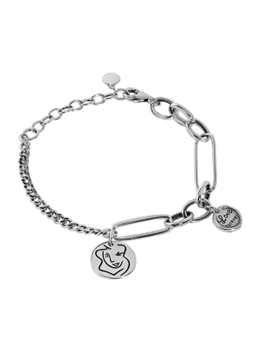 DAKA 925 Sterling Silver Geometric Vintage Link Bracelet 2