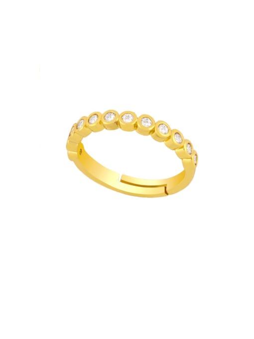 B Brass Rhinestone Round Vintage Band Ring