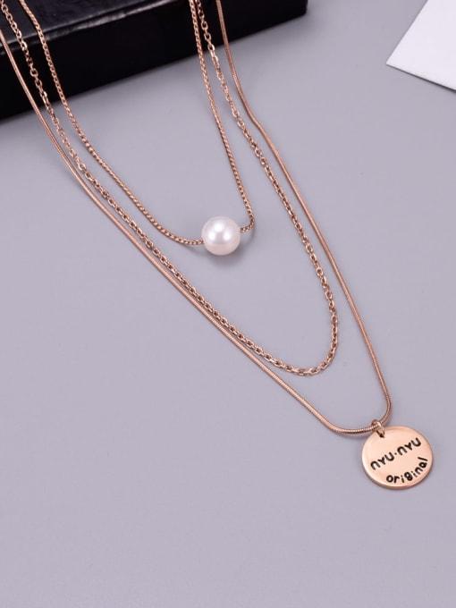 A TEEM Titanium Steel Imitation Pearl Tassel Minimalist Multi Strand Necklace 1