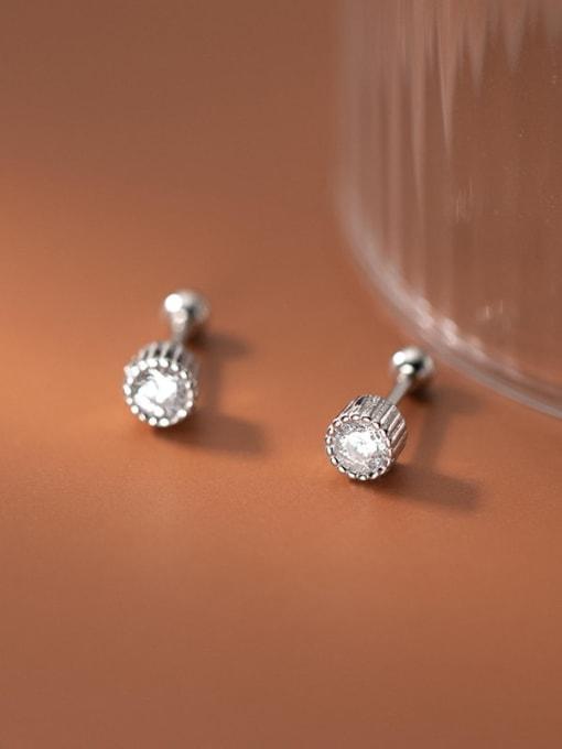 Rosh 925 Sterling Silver Rhinestone Round Minimalist Stud Earring 1