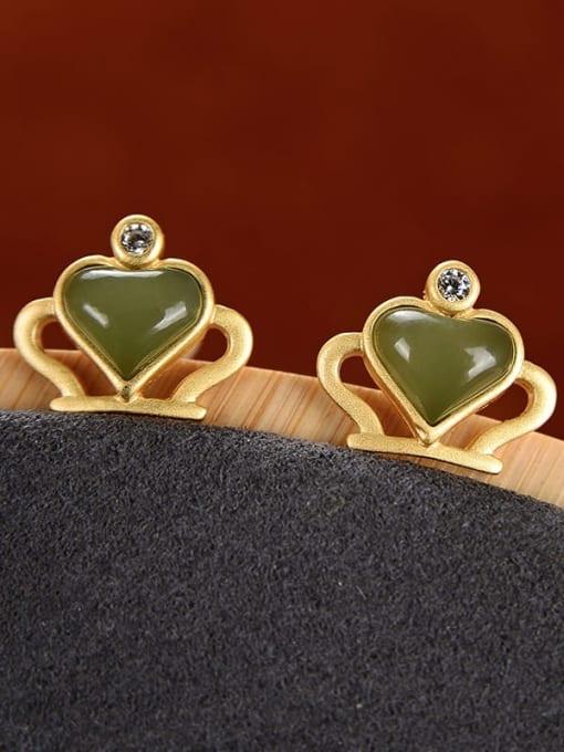 DEER 925 Sterling Silver Jade Crown Cute Stud Earring 2