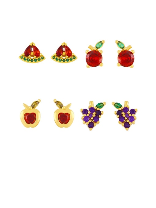 CC Brass Rhinestone Friut Cute Stud Earring 0