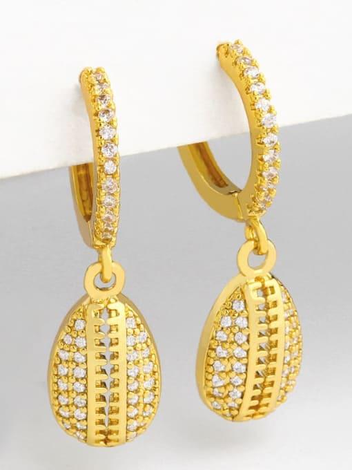 CC Brass Cubic Zirconia Water Drop Vintage Huggie Earring 2