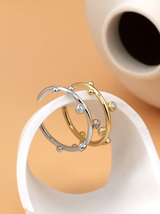 CHARME Brass Rhinestone Irregular Minimalist Band Ring 1