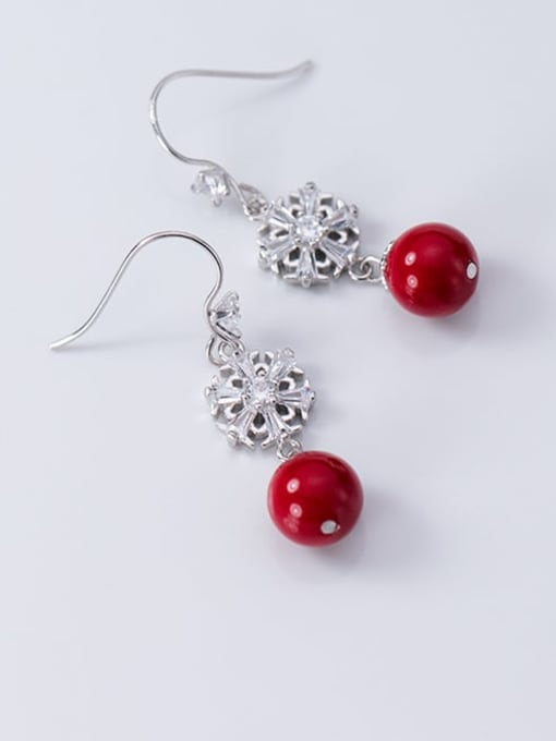 Rosh 925 Sterling Silver Imitation Pearl Flower Artisan Hook Earring 0
