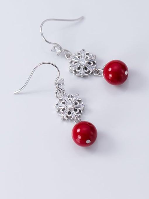 Rosh 925 Sterling Silver Imitation Pearl Flower Artisan Hook Earring