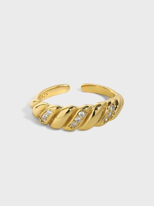 DAKA 925 Sterling Silver Rhinestone Irregular Vintage Band Ring 0