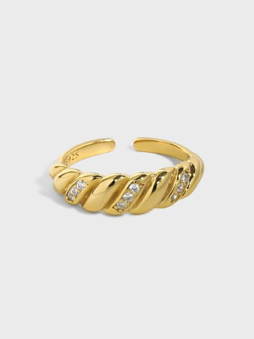 DAKA 925 Sterling Silver Rhinestone Irregular Vintage Band Ring