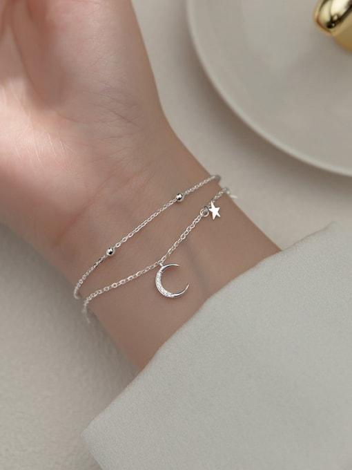 Rosh 925 Sterling Silver Cubic Zirconia Moon Minimalist Strand Bracelet 1