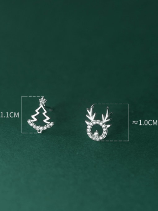 Rosh 925 Sterling Silver Cubic Zirconia  Minimalist  Asymmetric Christmas Tree Fawn  Stud Earring 2