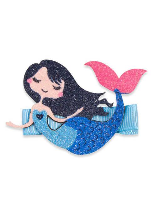 6 Mermaid Alloy Fabric Cute Icon Multi Color Hair Barrette
