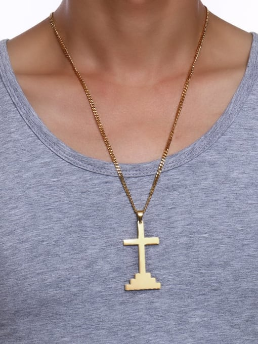 CONG Stainless steel Cross Hip Hop Necklace 3