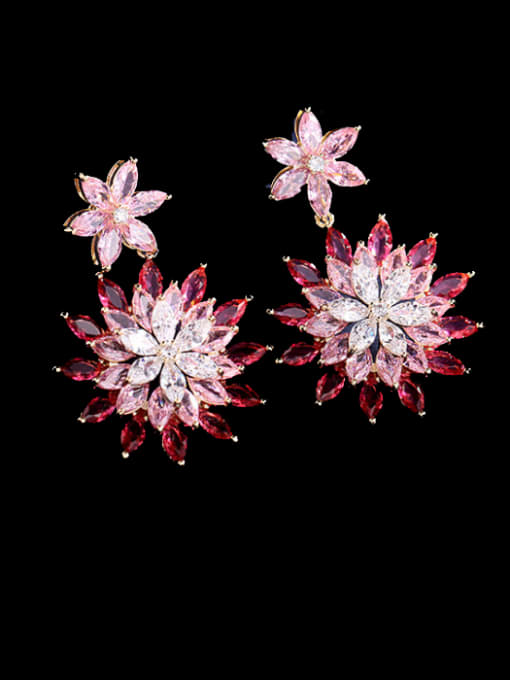 Luxu Brass Cubic Zirconia Flower Luxury Drop Earring 2