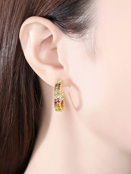BLING SU Brass Cubic Zirconia Flower Minimalist Stud Earring 1