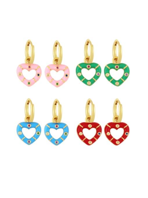 CC Brass Enamel Heart Vintage Huggie Earring 0