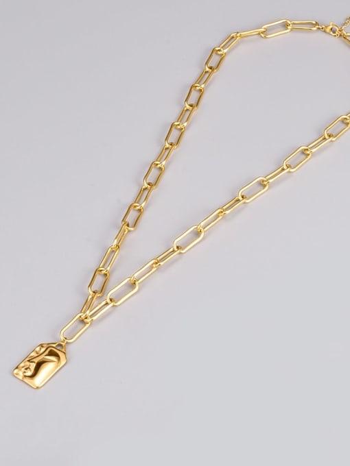 A TEEM Titanium Steel Geometric Vintage Hollow Chain Necklace 1
