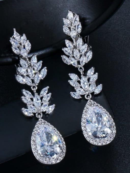 platinum Ear clip Brass Cubic Zirconia Flower Statement Drop Earring