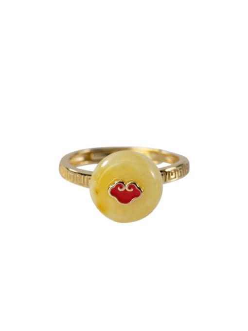 DEER 925 Sterling Silver Amber Round Ethnic Band Ring 0
