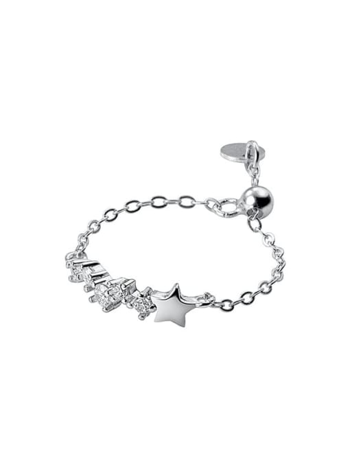 Rosh 925 Sterling Silver Cubic Zirconia Star Minimalist Band Ring