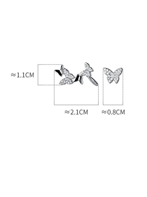 Rosh 925 Sterling Silver Cubic Zirconia Butterfly Dainty Clip Earring 4
