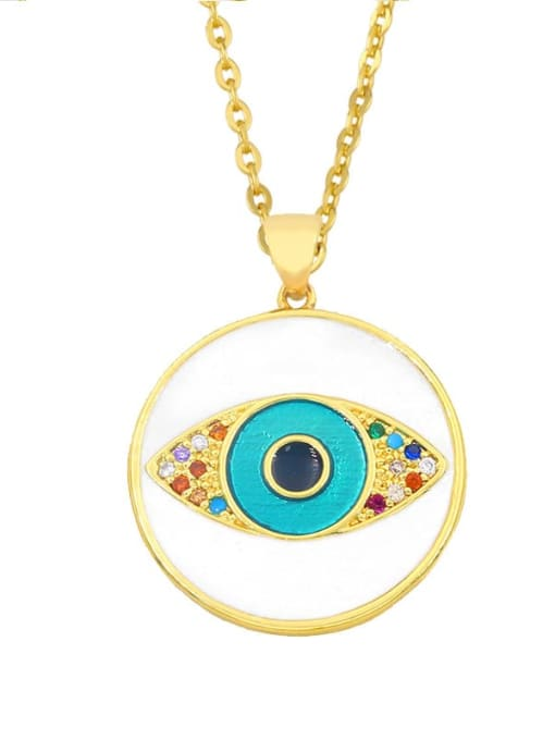 CC Brass Rhinestone Enamel Evil Eye Hip Hop Necklace 1