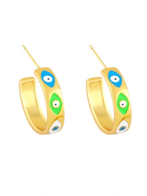 colour Brass Enamel Evil Eye Minimalist Stud Earring