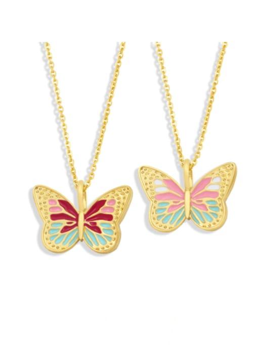 CC Brass Enamel Butterfly Minimalist Necklace 0