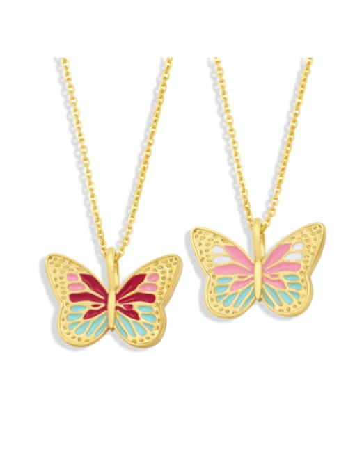 CC Brass Enamel Butterfly Minimalist Necklace
