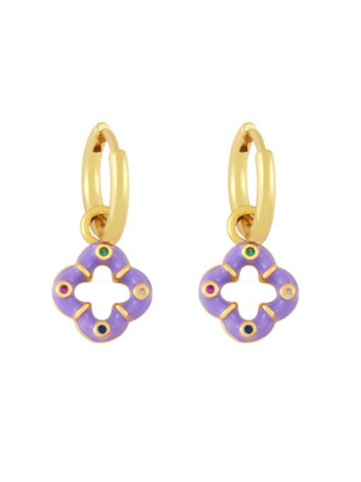 purple Brass Enamel Clover Vintage Huggie Earring