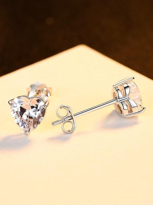 Platinum 925 Sterling Silver Cubic Zirconia Heart Minimalist Stud Earring