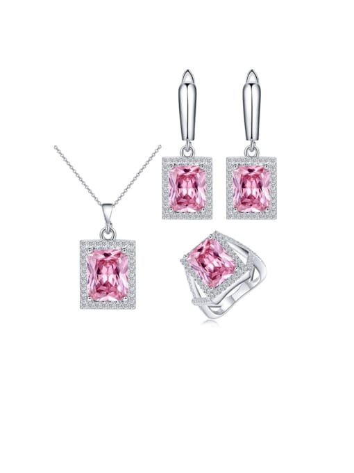 L.WIN Brass Cubic Zirconia Luxury Geometric  Earring Ring and Necklace Set