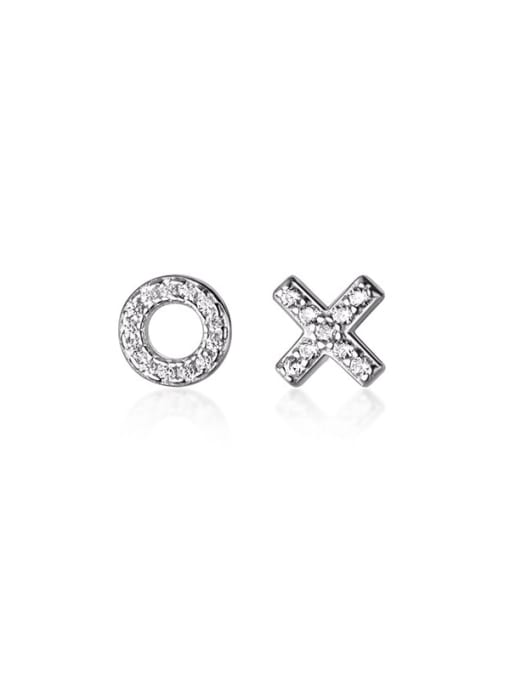 Rosh 925 Sterling Silver Rhinestone Cross Minimalist Stud Earring