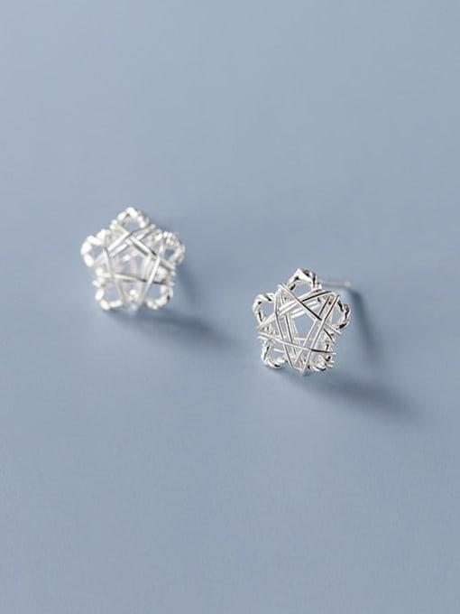 five pointed star 925 Sterling Silver Geometric Minimalist Stud Earring