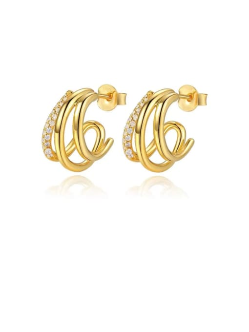 LI MUMU Brass Cubic Zirconia Irregular Minimalist Stud Earring