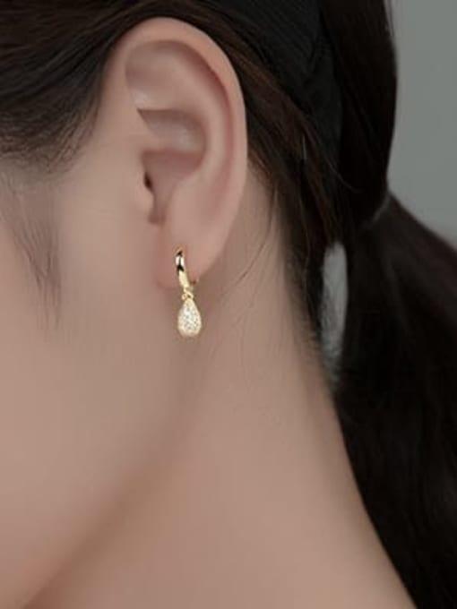 Rosh 925 Sterling Silver Cubic Zirconia Water Drop Minimalist Huggie Earring 2