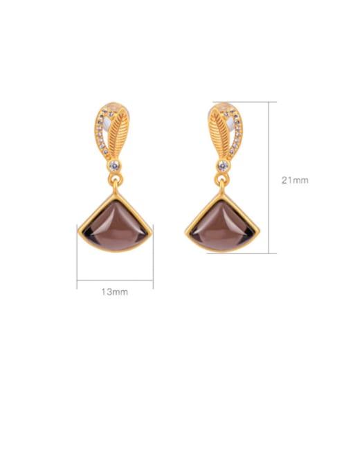 DEER 925 Sterling Silver Citrine Triangle Vintage Drop Earring 2