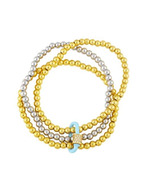Light blue Brass Bead Enamel Geometric Vintage Beaded Bracelet