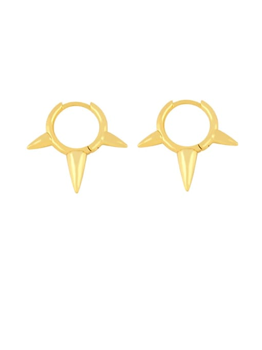 CC Brass Cone Minimalist Huggie Earring 0