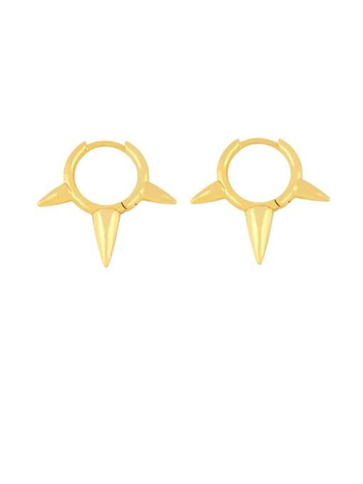 CC Brass Cone Minimalist Huggie Earring