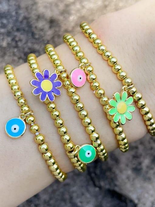 CC Brass Enamel Flower Vintage Beaded Bracelet 4